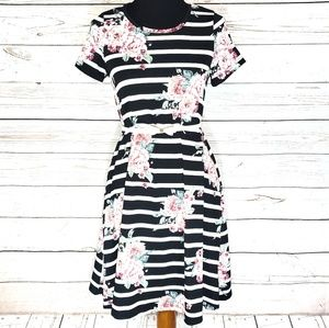 Stunning Striped Floral LuLaRoe Jessie Dress XXS